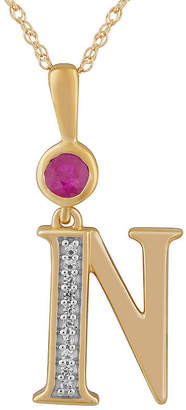 N. FINE JEWELRY Womens Lab Created Red Ruby 14K Gold Over Silver Pendant Necklace