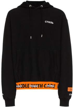 Heron Preston Ribbed Handle Cotton Hooded Sweatshirt