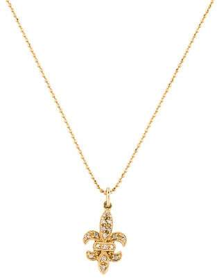 Sydney Evan 14K Diamond Fleur De Lis Pendant Necklace