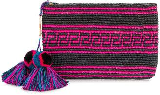 Yosuzi woven canvas pouch with pompom tassels