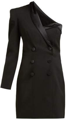 Dundas One Shoulder Tuxedo Wool Blend Mini Dress - Womens - Black