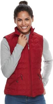 Women's Weathercast Geometric Quilted Faux-Fur Lined Vest