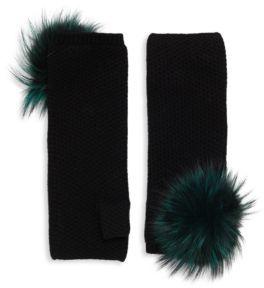 Fox Fur Pom-Pom Honeycomb-Knit Cashmere Fingerless Gloves $198 thestylecure.com