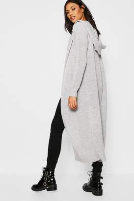 boohoo Maxi Hooded Edge To Edge Cardigan