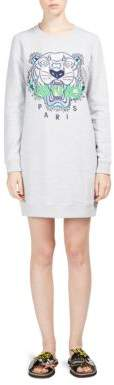 Kenzo Embroidered Tiger Icon Sweatshirt Cotton Dress