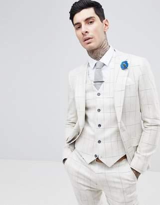 Gianni Feraud Skinny Fit Wedding Windowpane Check Suit Jacket