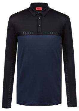 HUGO Boss Long-sleeved polo shirt in cotton logo tape M Dark Blue