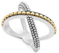 Lagos 18K Gold and Sterling Silver Enso X Ring