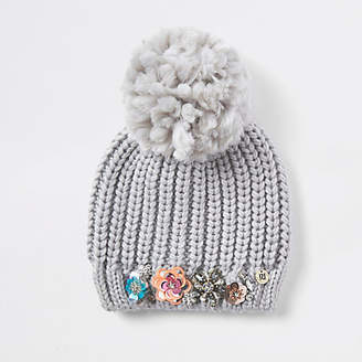 River Island Grey knit embellished beanie hat