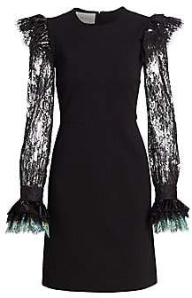Gucci Women's Compact Long Lace-Sleeve Jersey A-Line Dress