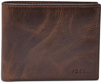 Fossil Men Leather Wallet Derrick Rfid-Blocking Bifold with Flip Id