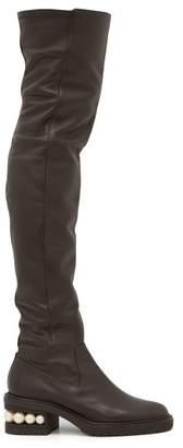 Nicholas Kirkwood Casati Pearl Heeled Leather Over The Knee Boots - Womens - Black
