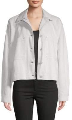 Vince Cotton & Linen Cropped Utility Jacket