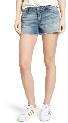 Women's Sts Blue Frayed Hem Side Slits Denim Shorts $39 thestylecure.com