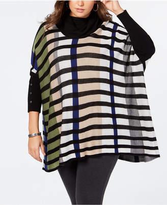 Joseph A Plus Size Striped Poncho Sweater