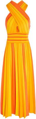 Carolina Herrera Stretch Knit Halterneck Midi Dress
