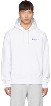Champion Reverse Weave White Small Script Logo Hoodie