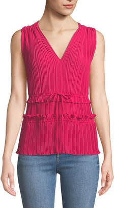 3.1 Phillip Lim Pleated V-Neck Tank Top with Gathered Details