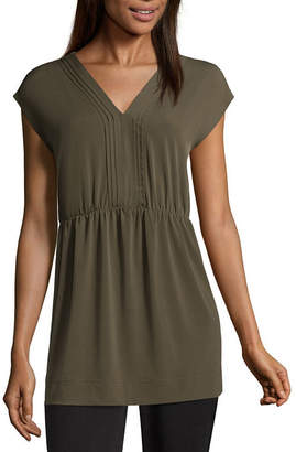 Liz Claiborne Short Sleeve Babydoll Top - Tall