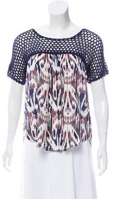 Ella Moss Crochet-Accented Short Sleeve Top w/ Tags