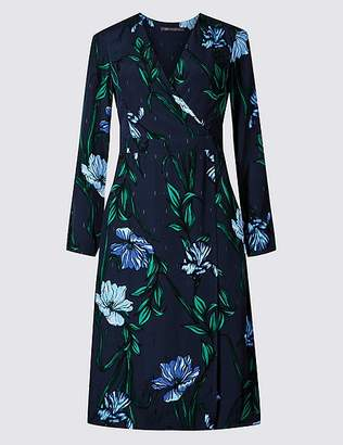 Marks and Spencer Floral Print Long Sleeve Wrap Midi Dress