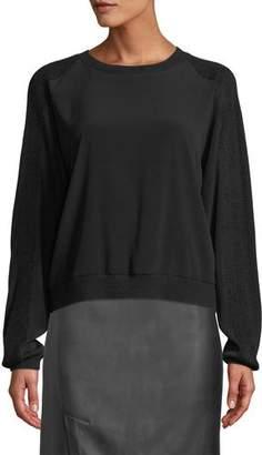 Vince Crewneck Sweatshirt w/ Ribbed Sleeves