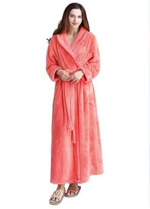 Artfasion Womens Long Robe Comfy Warm Soft Spa Plush Bathrobe Sleepwear for Ladies
