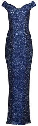 Pamella Roland Ombre Sequin Off-The-Shoulder Gown