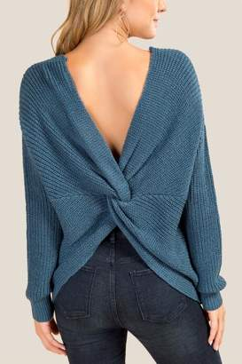 francesca's Karly Open Back Sweater - Dark Teal