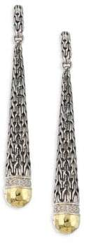 John Hardy Classic Chain Hammered 18K Gold& Silver Diamond Pave Long Drop Earrings