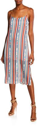 Astr Rowan Lace-up Striped Shift Dress