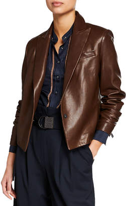 Brunello Cucinelli Cropped Leather Jacket