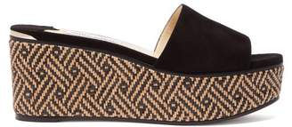 Jimmy Choo Dee Dee Woven Wedge Suede Mules - Womens - Black Tan