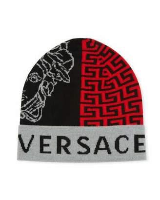 Versace Men's Logo Knit Beanie Hat