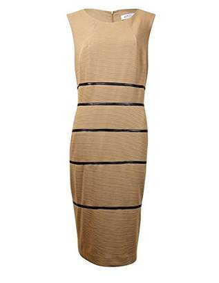 Kasper Women's Sheath Dress with Leather Trim Detail