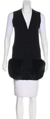 Valentino Knit Fur-Accented Vest