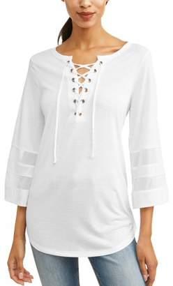 Laundry by Shelli Segal New York Laundry Women's 3/4 Sleeve Lace Up Varsity Mesh T-Shirt