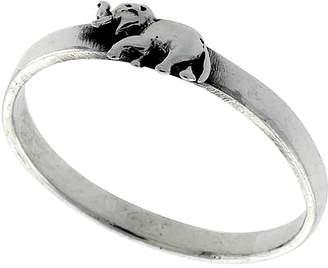 Sabrina Silver Sterling Silver Stackable Elephant Ring 3/16 inch wide, size 6.5