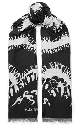 Valentino Printed Wool, Cashmere And Silk-blend Scarf