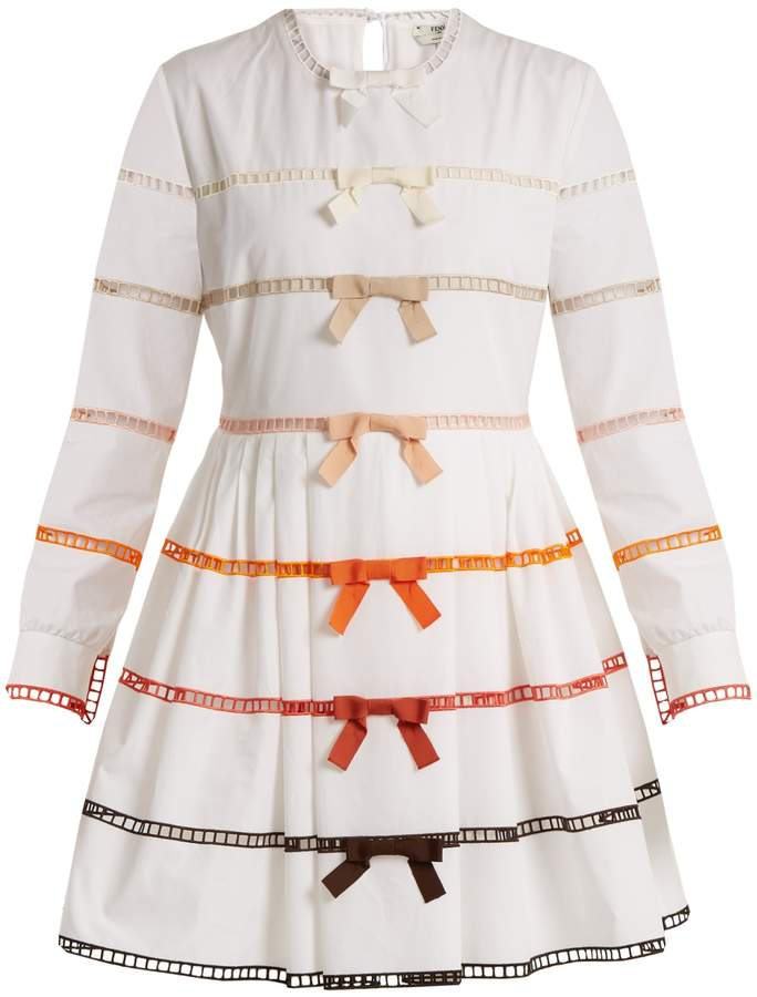 FENDI Long-sleeved bow-trimmed cotton dress