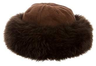 Neiman Marcus Shearling Suede Hat
