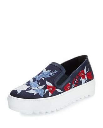 Salvatore Ferragamo Egla Embroidered Denim Sneaker, Indigo $595 thestylecure.com