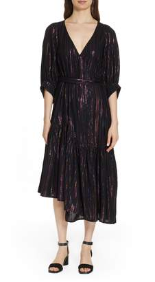 Apiece Apart Bougainville Metallic Stripe Wrap Dress