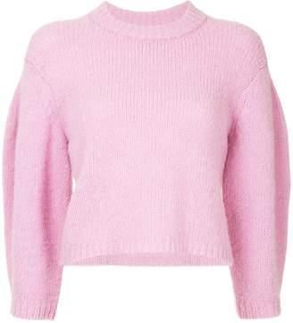 Tibi puff sleeve cropped sweater