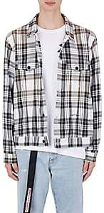 Off-White MEN'S GRADIENT CHECKED COTTON-BLEND SHIRT JACKET-BLACK SIZE XS