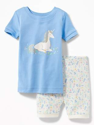 Old Navy Unicorn Graphic & Printed Shorts Sleep Set for Toddler & Baby