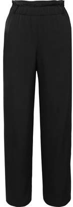 Giorgio Armani Silk-satin Wide-leg Pants - Black