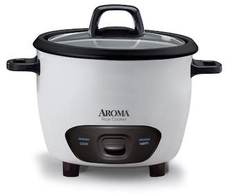 AROMA White 14 Cup Tempered Glass Lid Pot Style Rice Cooker