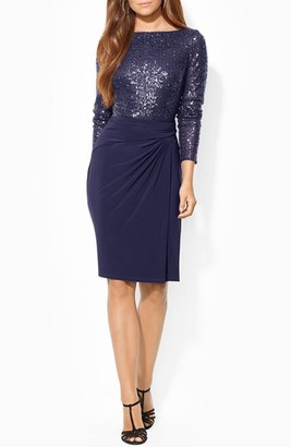 Women's Lauren Ralph Lauren Sequin Mesh & Jersey Sheath Dress $200 thestylecure.com