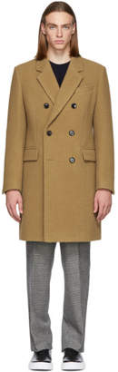 BOSS Tan Camel Double-Breasted Coat